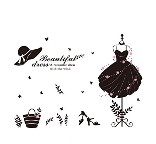 Kleid Göttin Grüne (BABYQUEEN Wand Sticker Weibliche Kleidung Geschäfte Fenster Geschmückt Selbstklebende Garderobe Kleiderschrank Aufkleber Göttin)