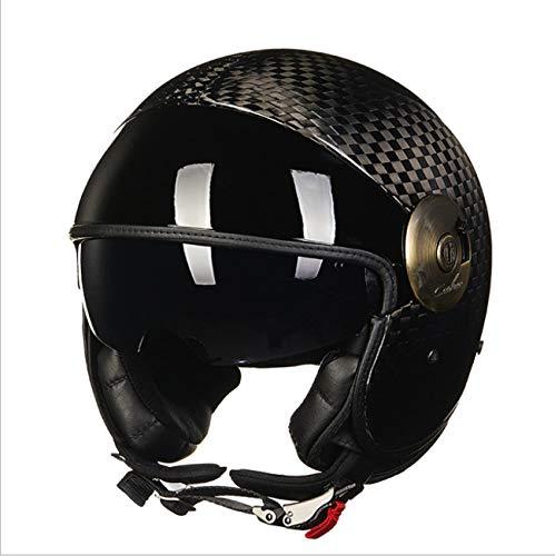 Lyanh Casco Moto Aperto, 3/4 Harley Chopper Semi-Jet Casco per Motocicletta in Fibra di Carbonio Doppia Visiera Adulto Approvato DOT XL () Nero Opaco,L