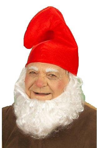 Komplett SET Rote Zwergen Mütze + Klebe-Bart weiß Zwerg Hut Kappe Karneval Kostüm Verkleidung Fasching 7 Zwerge Schlumpf Weihnachtsmann Nikolaus Kinder oder Erwachsene Herren Damen Fastnacht aus (Erwachsene Hut Schlumpf)
