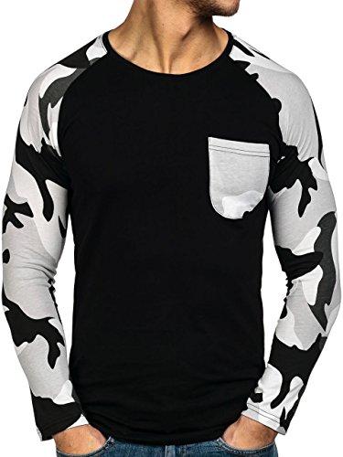 BOLF Herren Longsleeve Langarmshirt Sweatshirt Pulli Military Camo 1A1 Motiv Schwarz-Grau