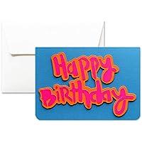 Happy Birthday - cumpleaños - colores fluorescentes - tarjeta de felicitación y sobres (formato 10,5 x 15 cm) - vacío por dentro, ideal para su mensaje personal - totalmente artesanal.