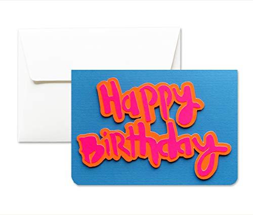 Happy Birthday - geburtstag - Lleuchtfarben - Grußkarte mit Umschlag (10,5 x 15 cm) - handgemachte Karte - freier Raum nach innen -