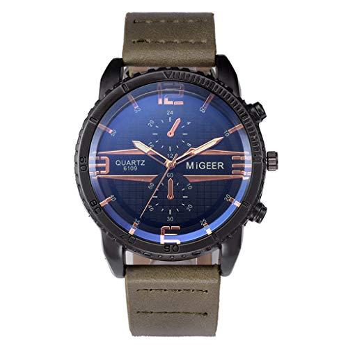 Chronograph Quarz Uhr Mit Leder Armband Quarzuhr Analog Armbanduhr Mode Klassisch Uhr Stilvolle, Raffinierte Armbanduhr Aus Stahl Quarzwerk Edelstahl-Zifferblatt Uhren ()