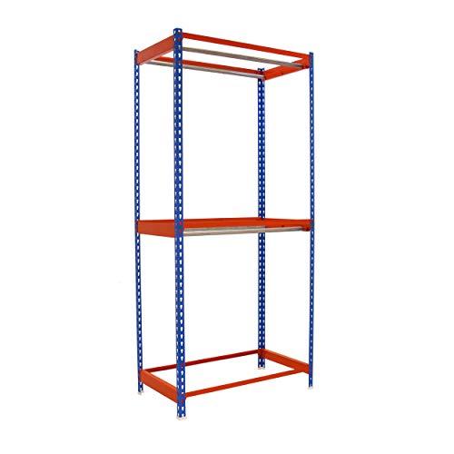Estantería para prenda colgada Simonclothing Azul/Naranja Simonrack 2000x900x750 mms - Estantería para perchas - Estantería para ropa - 25 Kgs de capacidad por colgador
