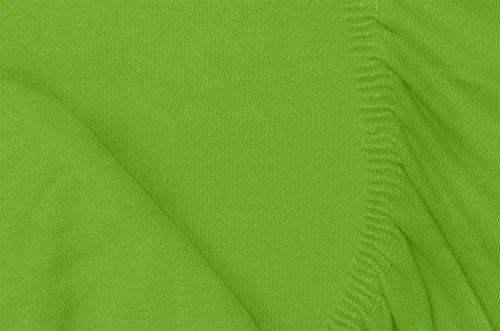 Double Jersey - Spannbettlaken 100% Baumwolle Jersey-Stretch bettlaken, Ultra Weich und Bügelfrei mit bis zu 30cm Stehghöhe, 160x200x30 Lime - 7