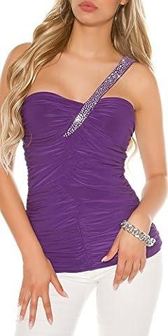Koucla femmes une épaule Haut Shirt Asymétrique Strass Fête Club Pli S 34 36 SEXY - mauve, S/M (Einheitsgröße)