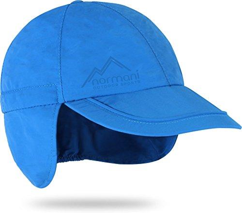 Kinder Regenmütze Unisex mit Netzfutter und Ohrenschützer Farbe Blau Größe L/53