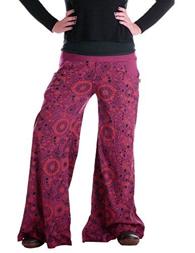 Vishes – Alternative Bekleidung – Hippie Schlaghose aus Baumwolle – bedruckt dunkelrot 34 (Baumwoll Schlaghose)