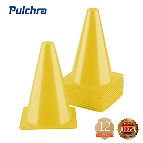 PULCHRA Training Traffic Cones Set of 12 Plastic Small Collapsible Soccer Ball Football Sports Cones Speed Workouts for Speed and Agility Training Practice Equipment (4 Colours) (Yellow)