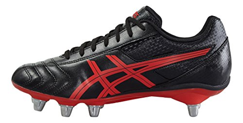 Asics Lethal Tackle Rugby Botas Rugby Rugby Botas Onyx / Vermil, Negro/Rojo, 41