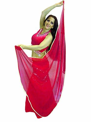 Tänzer Welt GOLD Getrimmte SEMI CIRCLE270cm bis 107cm ca Schleier Bauchtanz Kostüm Schleier Wrap Schal (REDY PINK GOLD)