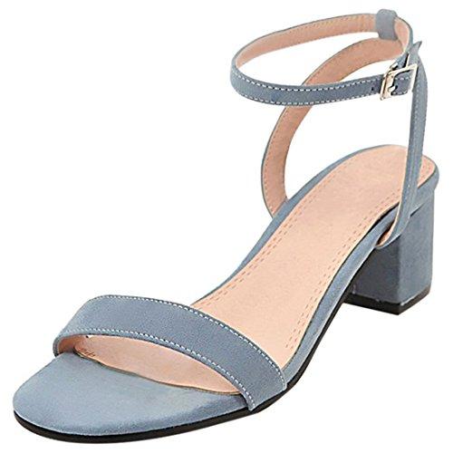 Artfaerie Damen Mittel Absatz Slingback Sandalen mit Schnalle und Blockabsatz Ankle Strap Bequem Pumps Offen Schuhe (1/2 Ankle Strap)