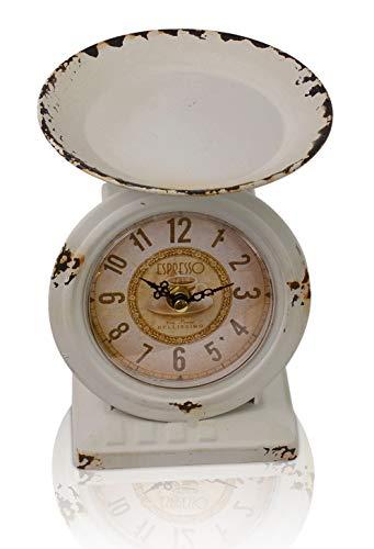 Chiccie - orologio da tavolo in stile retrò con bilancia in ferro anticato, stile vintage, bianco