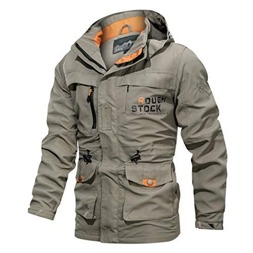 KPILP Herren Feldjacke Winterjacke Übergangsjacke Warm Classic Jacke mit Kapuze Pullover Winter Mantel Hoodies Multi Taschen Sweatjacke Freizeitjacke