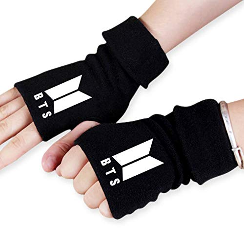 ReNice 1 par de Guantes sin Dedos BTS Winter Warm Knit con 1 Pegatina 3D 2 Tarjetas Lomo para A.R.M.Y