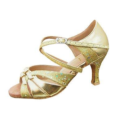 Silence @ pour femme Chaussures de danse latine/salle de bal en similicuir/paillettes Stiletto Talon Doré medium