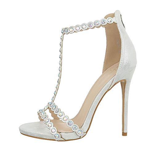 Ital-Design Damenschuhe Sandalen & Sandaletten High Heel Sandaletten Synthetik Silber Gr. 38 Silber Heels