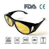 Best Night Driving Over Sonnenbrille – für Herren & Frauen/Wickelbrillen/polarisierte gelbe Gläser/blendfreie UV-400-Schutz/Geschenkpapier