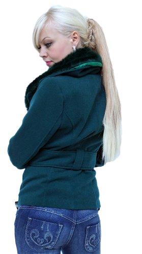 Chic veste avec col de fourrure en plusieurs couleurs (0601) SL Petrole