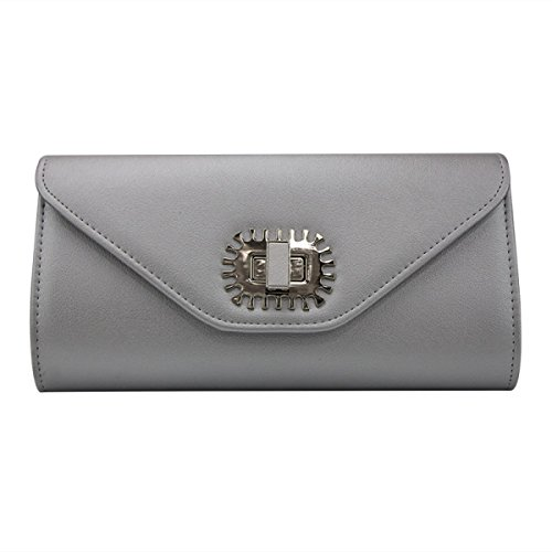 Frauen Reine Farbe Bankett Handtasche Horizontal Quadrat PU-Leder Clutch Silver