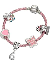 Children's Pink Leather Happy 6th Birthday Charm Bracelet With Lovely Jewellery Hut Gift Pouch - Girl's & Children's Birthday Gift Jewellery
