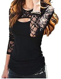 UOMOGO Camicia Donna Primavera, Donne Solido Pizzo Manica Lunga O Collo Camicetta Casuale Camicia Off Spalla Cime Camicetta Sexy Slim Fit