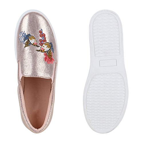 Damen Sneakers Slip-ons Sportliche Slipper Stickereien Schuhe Rose Gold
