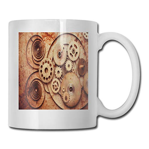 Jolly2T Funny Ceramic Novelty Coffee Mug 11oz,Mechanical Clocks Details Old Rusty Look Backdrop Gears Steampunk Design,Unisex Who Tea Mugs Coffee Cups,Suitable for Office and Home