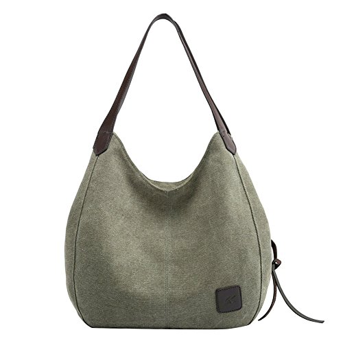 PB-SOAR Damen Mädchen Modern Canvas Shopper Schultertasche Handtasche Henkeltasche Hobo Bag Beuteltasche (Armeegrün)