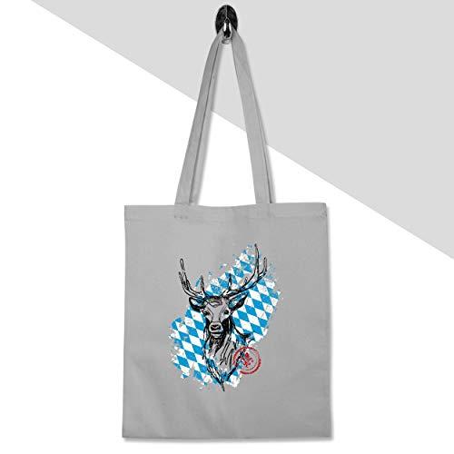 Shirtracer Oktoberfest Damen - Hirsch mit bayrischem Muster - Unisize - Hellgrau - WM101 - Baumwolltasche lange Henkel (Mit Bayrischem Kostüm)