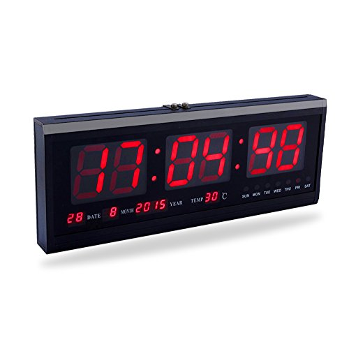 Yosoo Große Digital LED Uhr mit der Kalender Datum und Temperatur Anzeige Tisch-Uhr (rot)