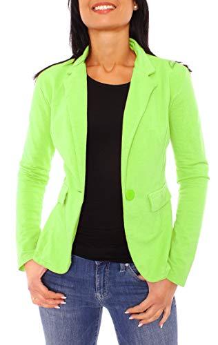 Easy Young Fashion Damen Sommer Sweat Jersey Blazer Jacke Sweatblazer Jerseyblazer Sakko Kurz Ungefüttert Langarm Uni Apfelgrün (M - 38 (L)