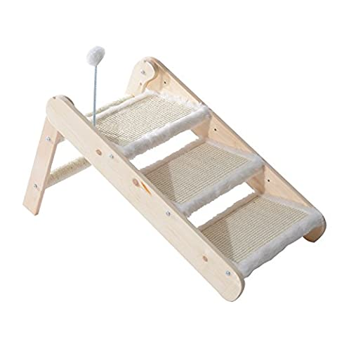 PawHut Folding 3-in-1 Wooden Pet Ramp & Stair Sisal Cat Scratcher Dog Portable 3 Step Ladder Animal w/