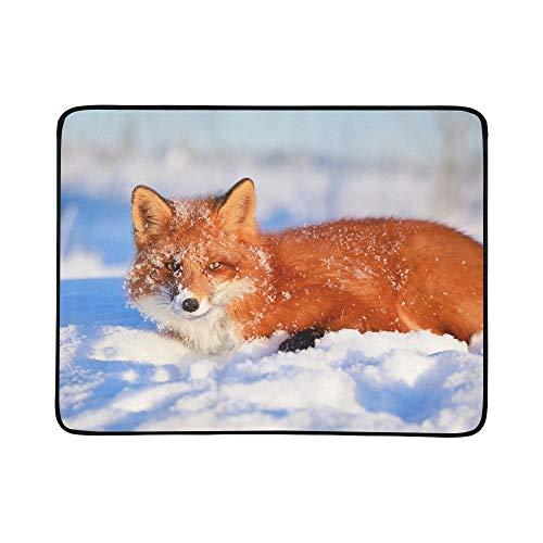 SHAOKAO Red Fox Tragbare Und Faltbare Deckenmatte 60x78 Zoll Handliche Matte Für Camping Picknick Strand Indoor Outdoor Reise (Fox Pelz Red)