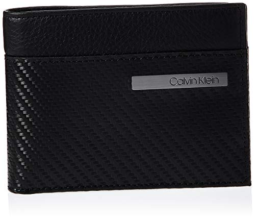 Calvin Klein Carbon Leather Billfold 8cc, portefeuille, Noir (Black), 12,5cm/9,5cm