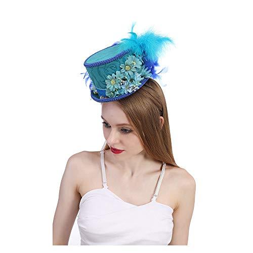 Bangxiu Fashion Classic Kentucky Derby Mini Zylinder Royal Blue Butterfly Hat Pferderennen Hut Blau Tea Party Hut für die meisten Menschen geeignet (Farbe : Blau, Größe : 25-30cm)