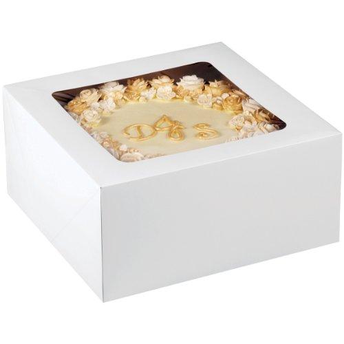 Wilton 30x 30x15cm (12x 12x 6) Wellpappe Cake Box mit Fenster, zwei Pack–Weiß
