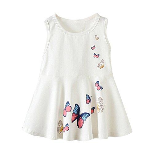 YWLINK MäDchen Kleinkinder Einfach Süß Schmetterling Drucken ÄRmellos A Line Weste Kleid Sommerkleid Tageskleider(Weiß,Größe: 24M)
