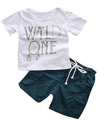 SMARTLADY Niños Chicos Camiseta de la impresión de la letra y Pantalones cortos Trajes de ropa