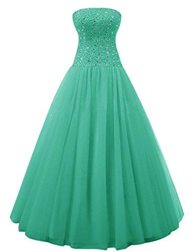 Dresstells Elegant Bodenlang Strapless Abendkleider Tüll Promi-Kleider Grün