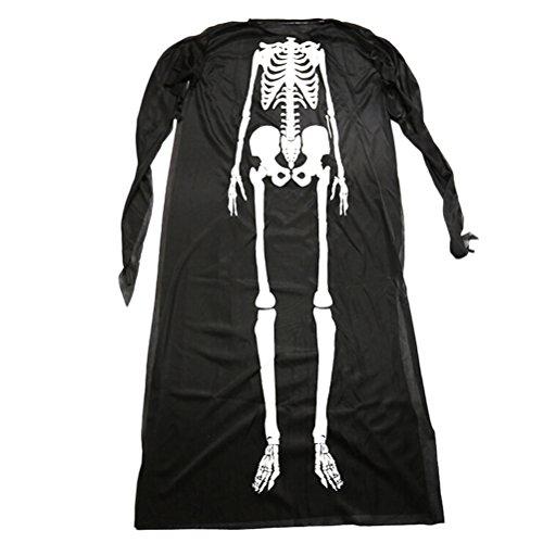 Schwarz Kostüm Schädel Skelett Geist Kleidung Erwachsene Cosplay Kostüm Set (Schwarz 40710) (Macht Ein Skelett Halloween Kostüm)