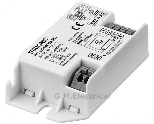 TRIDONIC DIGITAL HIGH FREQUENCY SQUARE FLUORESCENT BALLAST - RUNS 28W 2D OR COMPACT PL 26W - 22176208 Test