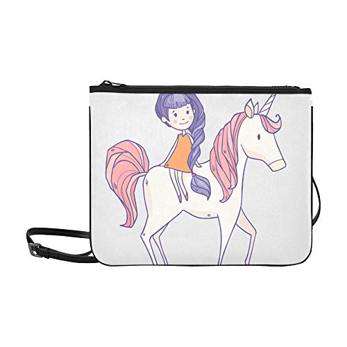 Benutzerdefinierte Kostüm Baby - WOCNEMP Little Unicorn mit Princess Girl Pattern Benutzerdefinierte hochwertige Nylon Slim Clutch Cross Body Bag Schultertasche