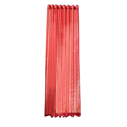Xmiral Gardine Türvorhang Plaid Tüll Einfarbig Ösen Einfarbig Dekoration Gardine Für Kinderzimmer Wohnzimmer Schlafzimmer(Rot)