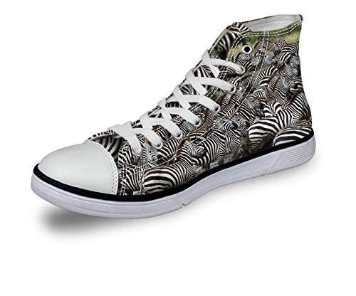 Animal Print Women Men High Top Lace Up Trainers Canvas Shoes Size UK2-8 Fashion Many Zebra CA5065AK UK 11.5\u002FEU45