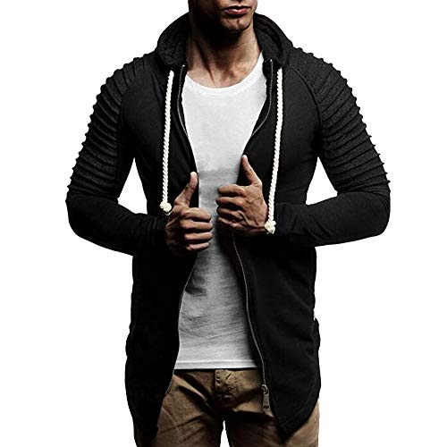MIRRAY Herren Asymmetrischer Solide Kapuzen Reißverschluss Mantel Kordelzug Pullover