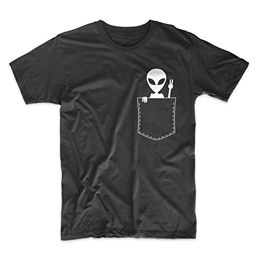 Pocket Alien Ufo Peace Komisch Cool Cute Herren T-Shirt Schwarz Large (Pocket Crewneck T-shirt)