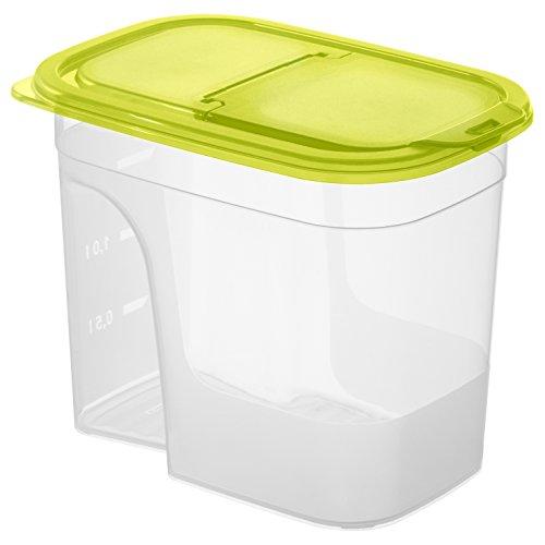 Rotho Sunshine Schüttdose mit Deckel, Kunststoff (BPA-frei), transparent / grün, klein / 2.2 Liter (20,3 x 13,5 x 16 cm)