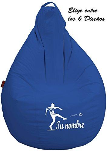 loconfort Puff pera Personalizado con TU Nombre Poli Piel Rojo (XL Adulto, Azul)