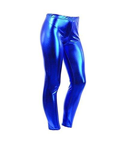 -/Nasslook, für 4-13 jährige Mädchen, glänzend, für Halloween / Kostümfeiern Gr. 5-6 Jahre, königsblau (Leggings Halloween)